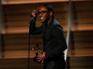 Kendrick Lamar accepts the award for Best Rap Album for