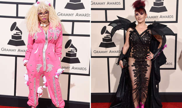 Slide 1 of 11: As the 58th Grammy Awards is here, let's a look at some of the craziest outfits that celebs wore while attending the event on Feb.15. 2016 at the Staples Center.