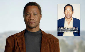 Cuba Gooding Jr; inset, O.J. Simpson mug shot