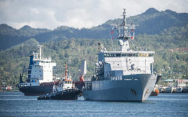 The HMNZS Wellington in Fiji.