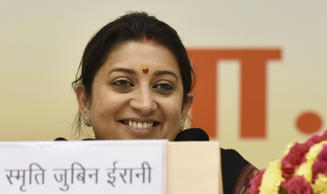 File: Union HRD Minister Smriti Irani during the Akhil Bharatiya Prachaarya Sammelan organized by the Vidya Bharati Akhil Bharatiya Shiksha Sansthan at Vigyan Bhawan on February 12, 2016 in New Delhi, India.