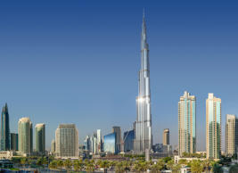 Burj Khalifa, the tallest building in the world, among other Dubai skyscrapers