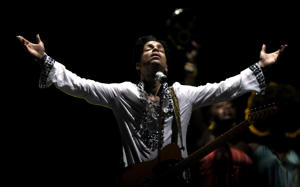 Prince performs at Day 2 of the Coachella Music And Arts Festival on April 26, 2008 at Empire Polo Grounds in Indio, California.
