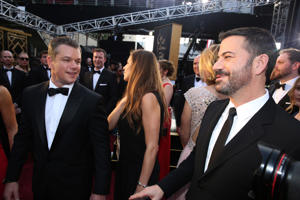 Matt Damon, left, and Jimmy Kimmel arrive at the Oscars on Sunday, Feb. 28, 2016, at the Dolby Theatre in Los Angeles.