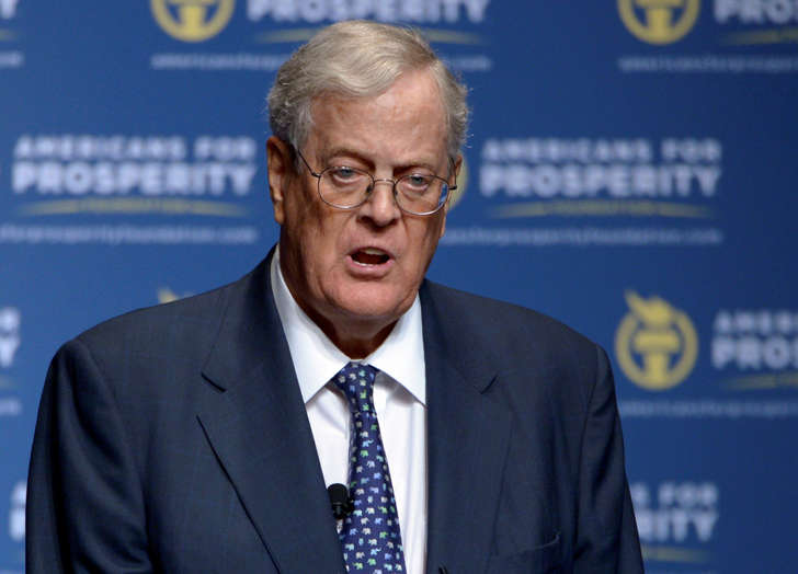 In this Aug. 30, 2013, file photo, David Koch speaks in Orlando, Fla.