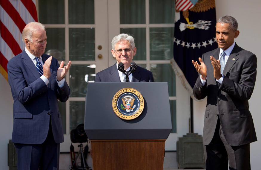 Federal appeals court judge Merrick Garland receives applause from President Barack Obama and Vice President Joe Biden as he is introduced as Obama's nominee for the Supreme Court during an announcement in the Rose Garden of the White House, in Washington, Wednesday, March 16, 2016.