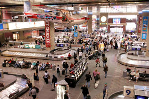 A view is seen of the baggage pick-up area at McCarran International Airport in Las Vegas.