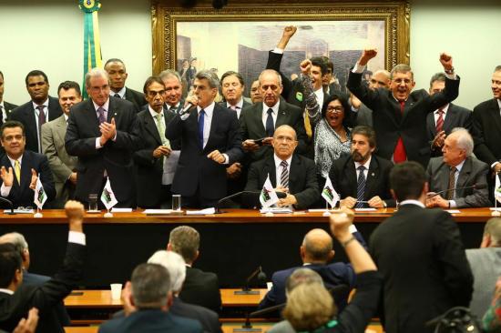 Reunião da Executiva Nacional do PMDB em que o partido decidiu deixar o governo