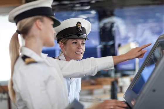 Female deck officers on bridge