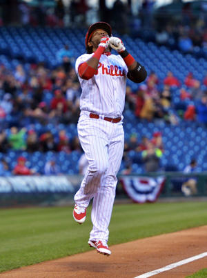 Maikel Franco of the Philadelphia Phillies celebrates a home run in the first inning against the San Diego Padres at Citizens Bank Park on April 13, 2016 in Philadelphia, Pennsylvania.