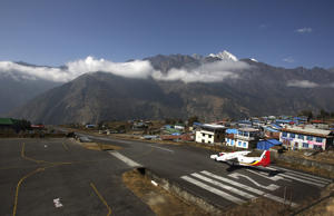 A small aircraft prepares to take off from Tenzing Hillary Airport in Lukla, northeast of Kathmandu.