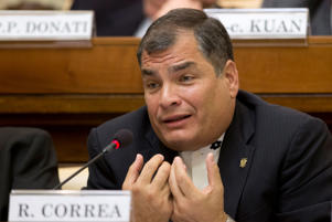 Ecuador's President Rafael Correa attends a conference organized by the Pontifical Academy of Social Sciences, at the Vatican Friday, April 15, 2016.