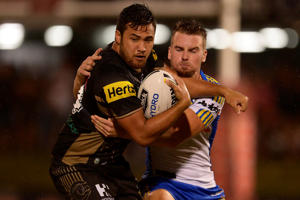 Peta Hiku of the Panthers is tackled during the NRL Trial match between the Penrith Panthers and the Parramatta Eels at Pepper Stadium on February 20, 2016 in Sydney, Australia