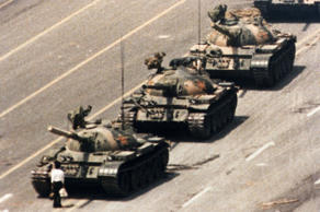 PRO DEMOCRACY DEMONSTRATION, PEKING, BEIJING, CHINA - 1989 WANG WEILIN HOLDING UP TANKS IN BEIJING