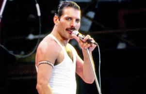 Freddie Mercury, during the Live Aid concert 1985.