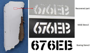 A piece of debris (L) that was found on a Mozambique beach and has since been found to be 'almost certainly' from missing flight MH370, seen next to comparisons of Boeing stencilling and Malaysia Airlines ones