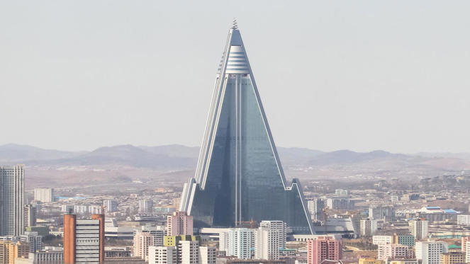 The Mansudae district may feature its fair share of gleaming towers but Pyongyang's most prominent building, the 105-storey Ryugyong Hotel is still a work in progress. Construction, which began way back in 1983, has been halted several times due to lack of funds.