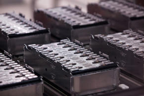 Automobile battery modules sit on the production line at the Bayerische Motoren Werke AG (BMW) manufacturing plant in Dingolfing, Germany, on Thursday, Aug. 21, 2014.