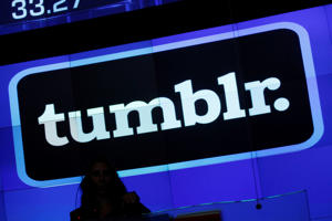 In this Thursday, July 11, 2013 photo, the Tumblr logo is displayed at Nasdaq, in New York.
