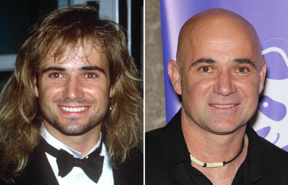 Diapositive 1 sur 30: Andre Agassi (1992 and 2016)