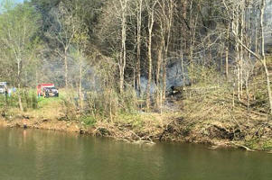 Smoke rises from the scene of a helicopter crash on April 4, 2016, near Sevierville, Tenn.