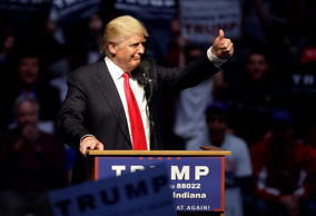 FILE - In this April 27, 2016 file photo, Republican presidential candidate Donald Trump gestures during a campaign stop in Indianapolis.