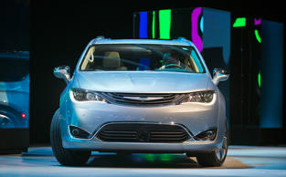 The 2017 Chrysler Pacifica Hybrid minivan at the North American International Auto Show, Monday, Jan. 11, 2016, in Detroit, Michigan.