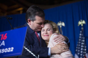 Republican presidential candidate, Sen. Ted Cruz, R-Texas, is seen through Chris...