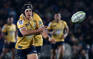 Matt Toomua of the Brumbies gets the ball away during the Super Rugby round ten match between the Highlanders and Brumbies at Rugby Park on April 30, 2016 in Invercargill, New Zealand