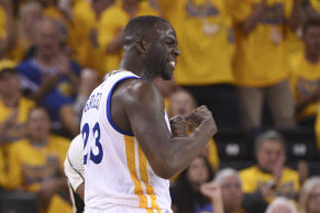 Golden State Warriors forward Draymond Green (23) celebrates against the Portland Trail Blazers during the second quarter in game two of the second round of the NBA Playoffs at Oracle Arena.
