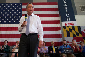 In this photo taken April 25, 2016, Ohio Gov. John Kasich speaks during a town hall at Thomas farms Community Center in Rockville, Md.