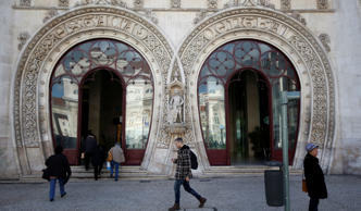 Dom Sebastiao statue is seen at Rossio station in downtown Lisbon