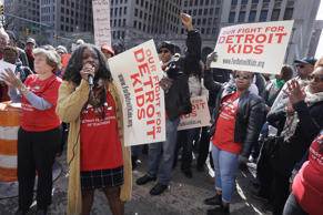 Detroit Federation of Teachers President Ivy Bailey addresses teachers outside the school district's headquarters, Tuesday, May 3, 2016, in Detroit. Nearly all of Detroit's public schools were closed for a second consecutive day Tuesday after hundreds of teachers called out sick over concerns that many may not get paid if the financially struggling district runs out of money.