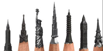 A Russian artist makes tiny intricate sculptures on the tips of pencils