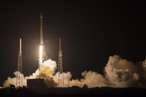 SpaceX's Falcon 9 rocket launches the JCSAT-14 communications satellite at Cape Canaveral, Fla, early Friday, May 6, 2016. The Falcon 9 first stage also landed on a droneship while the second stage continued on, delivering the spacecraft to a Geosynchronous Transfer Orbit.