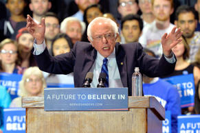 Democratic presidential candidate Sen. Bernie Sanders speaks to a gathering of supporters during a campaign rally May 4, 2016, in Lexington Ky.