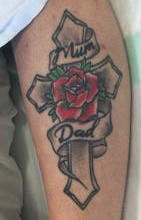 An unidentified woman found injured on the side of the road in Dome Valley has this tattoo on her left leg.