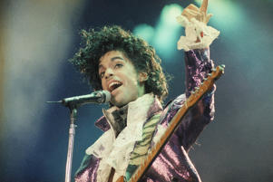 A file image of Prince in concert.