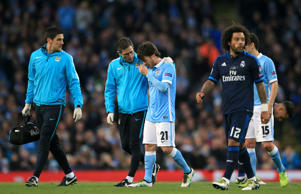 Manchester City playmaker David Silva was forced off with a hamstring injury