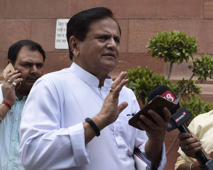 File: Senior Congress Leader and Member of Parliament Rajya Sabha Ahmed Patel arrives to attend the Parliament Session, on April 27, 2016 in New Delhi, India.