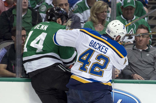 Apr 29, 2016; Dallas, TX, USA; St. Louis Blues center David Backes (42) checks Dallas Stars left wing Jamie Benn (14) during the first period in game one of the second round of the 2016 Stanley Cup Playoffs at the American Airlines Center.