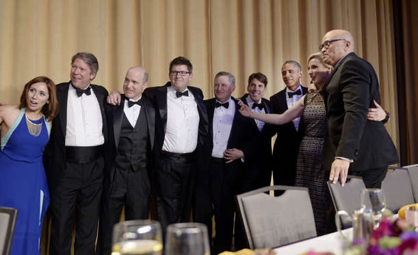 WASHINGTON, DC - APRIL 30: (AFP OUT) President Barack Obama poses with members of the White House Correspondents' Association during the White House Correspondents' Association annual dinner on April 30, 2016 at the Washington Hilton hotel in Washington, DC. This is President Obama's eighth and final White House Correspondents' Association dinner (Photo by Olivier Douliery-Pool/Getty Images)