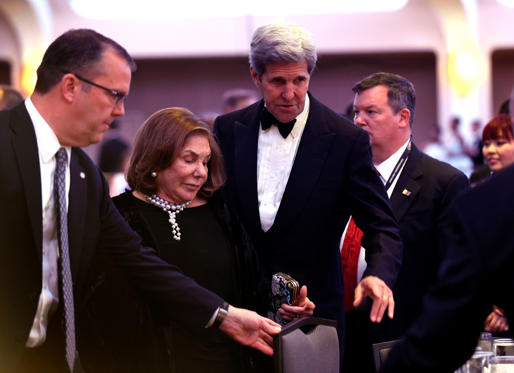 Secretary of State John Kerry, second from right, and his wife Teresa Heinz Kerry, second from left, arrive at the annual White House Correspondents' Association dinner at the Washington Hilton, in Washington, Saturday, April 30, 2016. (AP Photo/Susan Walsh)