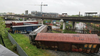 Several cars remain overturned after a CSX freight train derailed in Washington ...