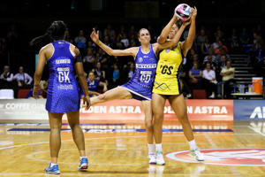 Anna Harrison of the Mystics defends against Maia Wilson of the Pulse during the ANZ Championship match between the Central Pulse and the Northern Mystics at TSB Bank Arena on April 18, 2016 in Wellington, New Zealand