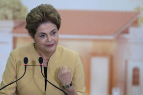 Brazil's President Dilma Rousseff speaks during a ceremony with foreign doctors where she announced the extension of the More Doctors Program, at Planalto presidential palace in Brasilia, Brazil, Friday, April 29, 2016.