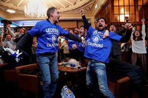 Britain Football Soccer - Leicester City fans watch the Chelsea v Tottenham Hots...