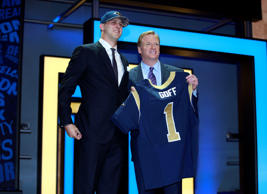 California's Jared Goff poses for photos with NFL commissioner Roger Goodell aft...
