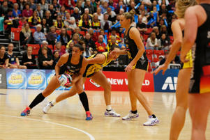Grace Rasmussen of the BOP Magic protecting the ball during the round nine ANZ Championship match between the Magic and the Pulse at ASB Baypark Stadium on May 30, 2016 in Mount Maunganui, New Zealand