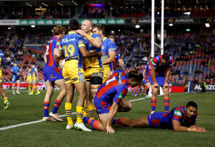 Beau Scott of the Eels celebrates a first half try.
